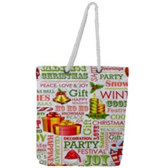 The Joys Of Christmas Full Print Rope Handle Tote (large) by allthingseveryone