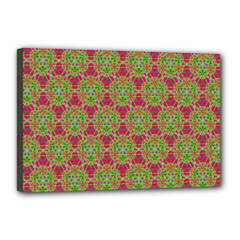 Red Green Flower Of Life Drawing Pattern Canvas 18  X 12  by Cveti