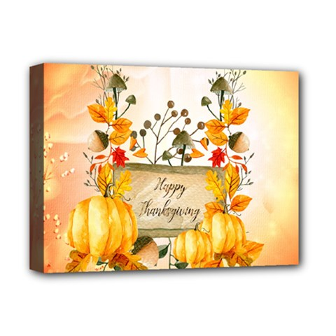 Happy Thanksgiving With Pumpkin Deluxe Canvas 16  X 12   by FantasyWorld7