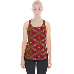 Textured Background Christmas Pattern Piece Up Tank Top by Celenk
