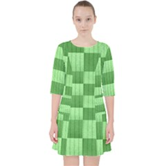 Wool Ribbed Texture Green Shades Pocket Dress by Celenk