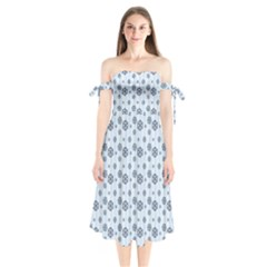 Snowflakes Winter Christmas Card Shoulder Tie Bardot Midi Dress by Celenk
