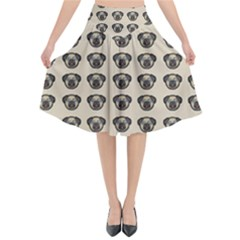 Puppy Dog Pug Pup Graphic Flared Midi Skirt
