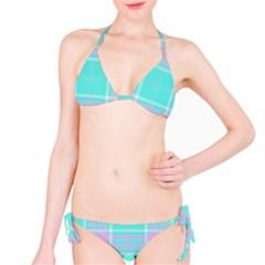 Blue And Pink Pastel Plaid Bikini Set