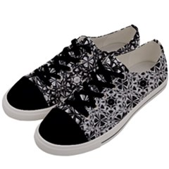 Star Crystal Black White 1 And 2 Men s Low Top Canvas Sneakers by Cveti