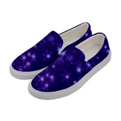 Blurry Stars Blue Women s Canvas Slip Ons by MoreColorsinLife