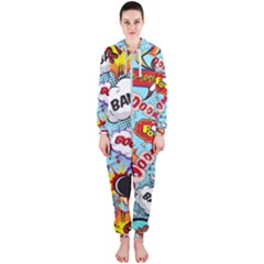 Comic Pattern Hooded Jumpsuit (ladies)