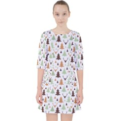 Reindeer Christmas Tree Jungle Art Pocket Dress by patternstudio