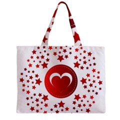 Monogram Heart Pattern Love Red Zipper Mini Tote Bag