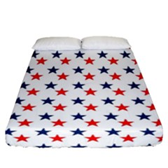 Patriotic Red White Blue Stars Usa Fitted Sheet (queen Size)