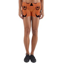Fabric Halloween Pumpkin Funny Yoga Shorts by Celenk