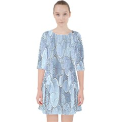 Bubbles Texture Blue Shades Pocket Dress by Celenk
