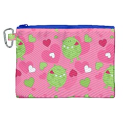 Monster Love Pattern Canvas Cosmetic Bag (xl) by allthingseveryday