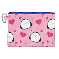 Penguin Love Pattern Canvas Cosmetic Bag (xl) by allthingseveryday