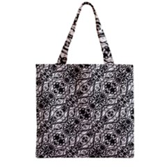 Black And White Ornate Pattern Grocery Tote Bag by dflcprints
