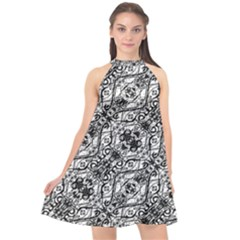 Black And White Ornate Pattern Halter Neckline Chiffon Dress