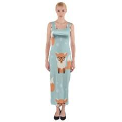 Cute Fox Pattern Fitted Maxi Dress