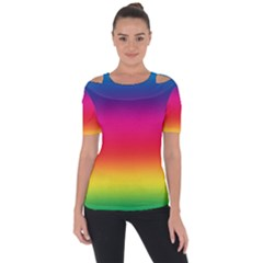 Spectrum Background Rainbow Color Short Sleeve Top by Celenk