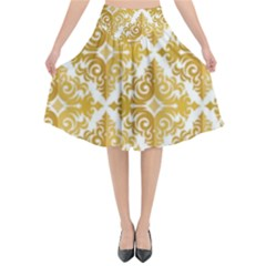 Gold Pattern Wallpaper Fleur Flared Midi Skirt