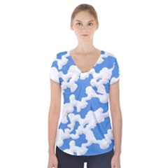 Cloud Lines Short Sleeve Front Detail Top by jumpercat