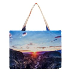Iceland Landscape Mountains Stream Medium Tote Bag by BangZart