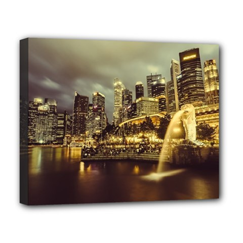 Singapore City Urban Skyline Deluxe Canvas 20  X 16   by BangZart