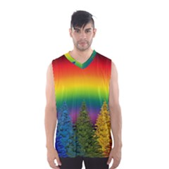 Christmas Colorful Rainbow Colors Men s Basketball Tank Top by BangZart