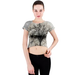 Snow Snowfall New Year S Day Crew Neck Crop Top