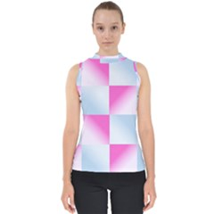 Gradient Blue Pink Geometric Shell Top by BangZart