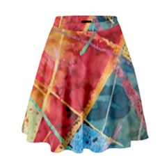Painting Watercolor Wax Stains Red High Waist Skirt by BangZart