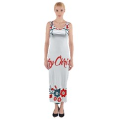 Merry Christmas Christmas Greeting Fitted Maxi Dress