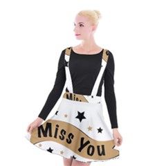 Lettering Miss You Banner Suspender Skater Skirt