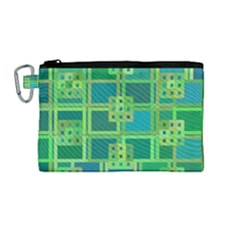 Green Abstract Geometric Canvas Cosmetic Bag (medium)