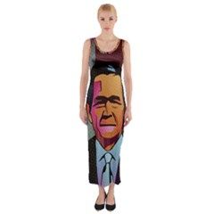George W Bush Pop Art President Usa Fitted Maxi Dress