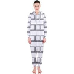 Wall Pattern Rectangle Brick Hooded Jumpsuit (ladies)