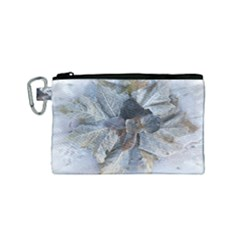 Winter Frost Ice Sheet Leaves Canvas Cosmetic Bag (small)