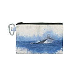 Whale Watercolor Sea Canvas Cosmetic Bag (small)