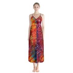Vibrant Hippy Tye Dye Button Up Chiffon Maxi Dress