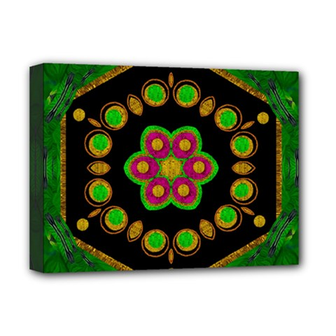 Magic Of Life A Orchid Mandala So Bright Deluxe Canvas 16  X 12   by pepitasart