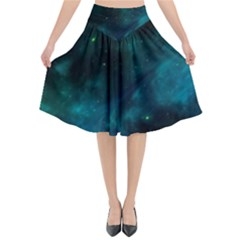 Green Space All Universe Cosmos Galaxy Flared Midi Skirt