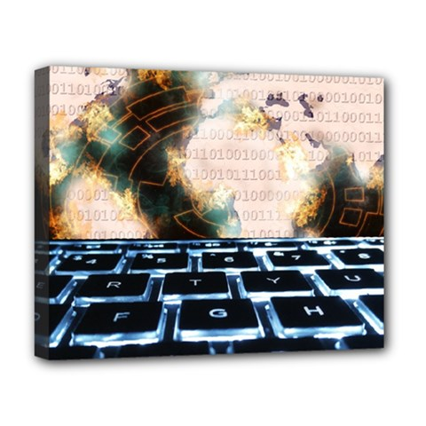 Ransomware Cyber Crime Security Deluxe Canvas 20  X 16   by Celenk