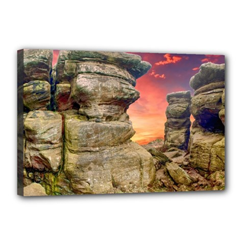 Rocks Landscape Sky Sunset Nature Canvas 18  X 12  by Celenk