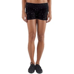 Black Background Texture Stars Yoga Shorts by Celenk