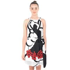 Flamenco Dancer Halter Collar Waist Tie Chiffon Dress