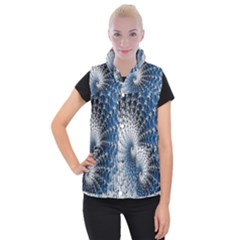 Mandelbrot Fractal Abstract Ice Women s Button Up Puffer Vest by Nexatart