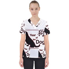 Year Of The Dog   Chinese New Year Scrub Top by Valentinaart