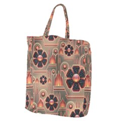 Background Floral Flower Stylised Giant Grocery Zipper Tote