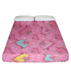 Unicorns Eating Ice Cream Pattern Fitted Sheet (california King Size)