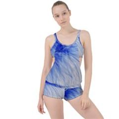 Feather Blue Colored Boyleg Tankini Set