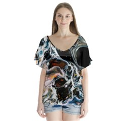 Abstract Flow River Black V Neck Flutter Sleeve Top by Nexatart